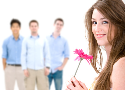 Attractive woman being courted.